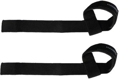 Kobo Power Gym Training Padded Straps / Weight Lifting Hand Bar Belts / Gloves Hooks Wraps (IMPORTED) Wrist Support (Free Size, Black)