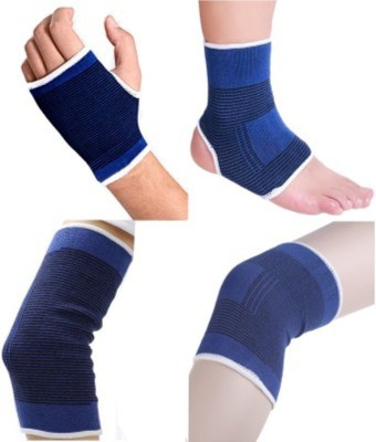 Gruvi Enterprises Sports Slimmer Shaper Trimmer Palm, Elbow & Ankle Support (Free Size, Blue)