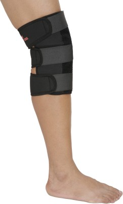 SportSoul Premium Adjustable Knee Support (M, Black)