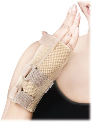 D4 Rehabilitation Elastic Wrist Splint Short Type Wrist Support (L, Blue, Brown)