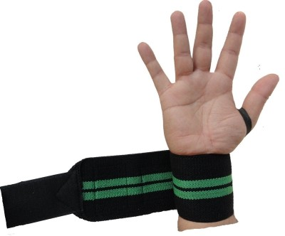 Kobo Power Weight Lifting Training Gym Straps With Thumb Support Grip Glove Body Building (IMPORTED) Wrist Support (Free Size, Black)