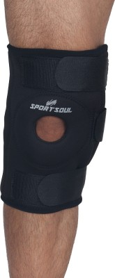 SportSoul Hinged, Open Patella Knee Support (L, Black)