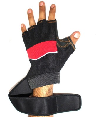 99DailyDeals Black and Red Elastic Pair Of Grip Protection Wrist Support (Free Size, Black, Red)