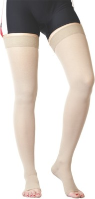 Flamingo Healthcare Medical Compression Stocking Above Knee, Calf & Thigh Support (L, Beige)