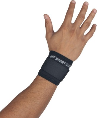 SportSoul Laminated Fabric Wrist Support (Free Size, Black)