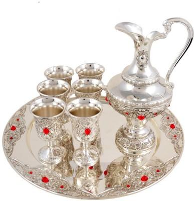 Craftghar Elegant Set of Wine Silver Silver Plated Surahi