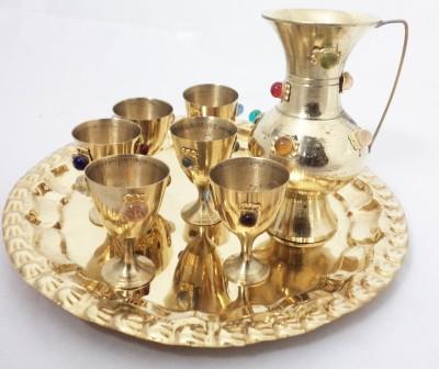 Homestyle India Brass Antique Surahi Set Multicolor Brass Surahi