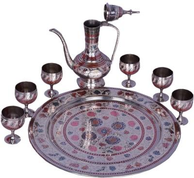 BRK HANDICRAFT Decorative Brass Wine Set Silver, Multicolor Brass Surahi(2.5 L)