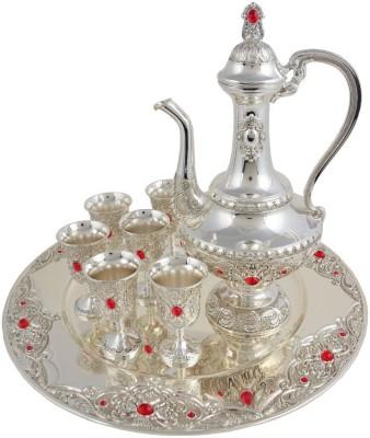 Craftghar Elegant Set of Wine Silver Silver Plated Surahi(1 L)