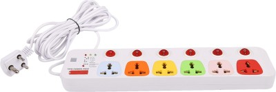 Cona Smyle VIVA 6+6 Power Strip / Spike Guard 6 Socket + 6 Switch with 5 Mtrs Wire 6 Strip Surge Protector