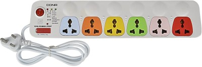 Cona Smyle Viva 6+1 Power Strip / Spike Guard 6 Socket + 1 Switch with 1.75mtrs Wire 6 Strip Surge Protector
