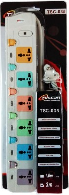 Tuscan Extension Cord - 3 Meter Cable 6 Strip Surge Protector