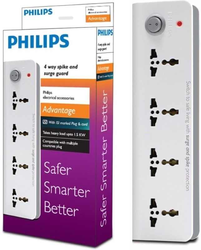 Philips Four Way Extension 4 Socket Surge Protector(White)