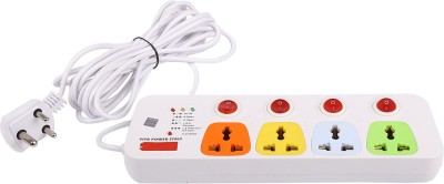 Cona Smyle VIVA 4+4 Power Strip / Spike Guard 4 Sockets + 4 Individual Switches 5 Mtrs 4 Strip Surge Protector