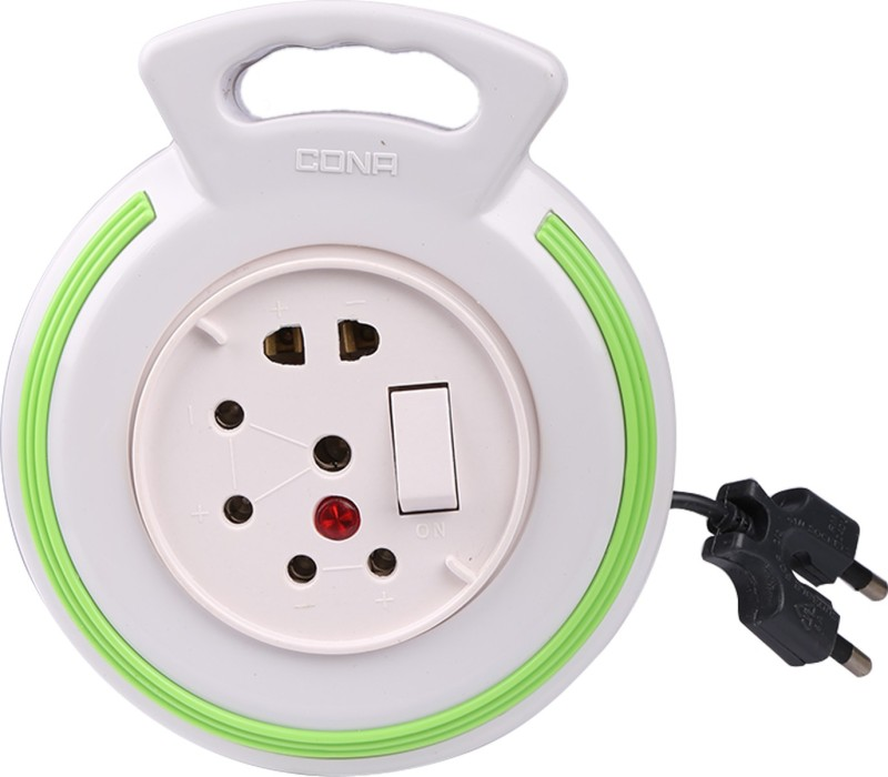 Cona Smyle Euro Flex Box / Extension Cord with 4-meter Wire (White with Green Ring) 3 Strip Surge Protector