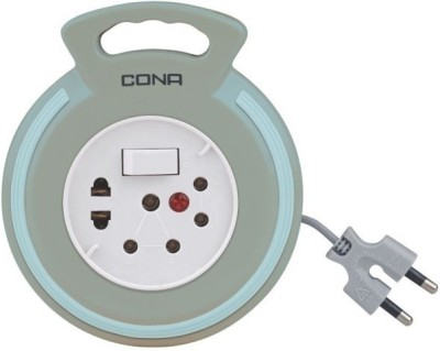 Cona Flex box 2Pin with 4Meter Extension cord 3 Socket Surge Protector(Grey)
