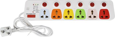 Cona Smyle Viva 6+6 Power Strip / Spike Guard d 6 Socket + 6 Switch with 1.75m Wire 6 Strip Surge Protector