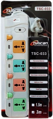 Tuscan Extension Cord - 3 Meter Cable 4 Strip Surge Protector