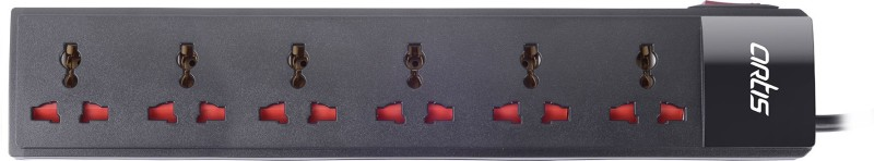 Artis AR-SP600SS-15 Socket Single Switch Spike Guard 1.5 Mtr Cable 6 Socket Surge Protector(Black)