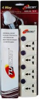 Tuscan Extension Board - 1.5 Meter Cable 4 Socket Surge Protector(White)