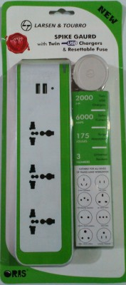 Larsen & Toubro Spike Guard With Twin Usb Charger & Resettable Fuse 3 Strip Surge Protector