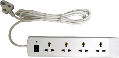 Bajaj 4 WAY SPIKE AND SURGE GUARD 4 Socket Surge Protector(White)