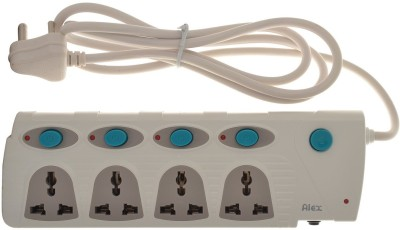 Alex 10A 4-Socket Spike Guard with 1.5 meter long wire (4 Switches + 4 Socket Spike Guard) (White) 4 Strip Surge Protector