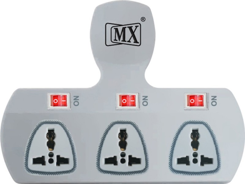 MX Universal Adaptor 3 Socket Surge Protector(Multicolor)