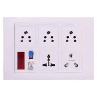 Shri Krishna Bahul power strip extension multi outlet board Fitted with 1 Orpat Socket(15 Amp) And 3 Orpat Sockets(5 Amp)& 1 Cross Pin Orpat Socket(15