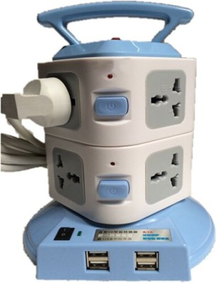 Techshoppe Plug Portable Socket with Usb 8 Strip Surge Protector