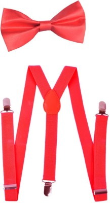 Modishera Y- Back Suspenders for Men(Red, Red)