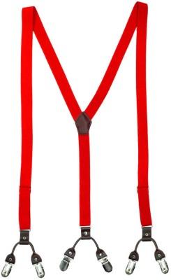 The Tie Hub Y- Back Suspenders for Men(Red)