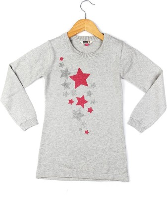 People Printed Round Neck Casual Women's Grey Sweater