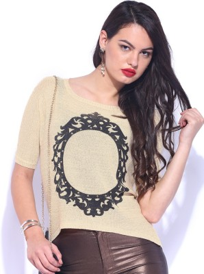 D Muse by DressBerry Printed Round Neck Casual Women's Beige Sweater
