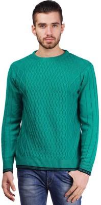 Priknit Self Design Round Neck Men's Green Sweater