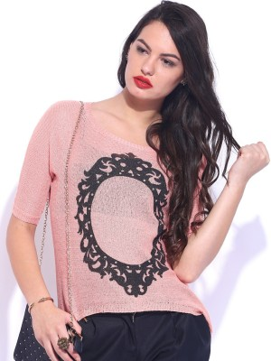 D Muse by DressBerry Printed Round Neck Casual Women's Pink Sweater