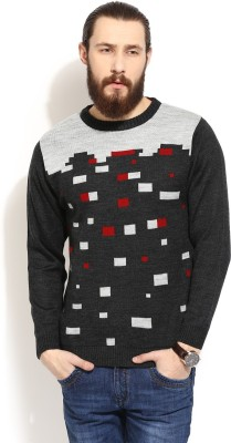 COBB Checkered Round Neck Casual Men's Grey Sweater
