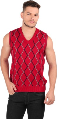 Oxemberg Checkered V-neck Casual Men's Red Sweater