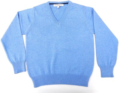 TENDER TOUCH Solid V-neck Casual Boy's Blue Sweater