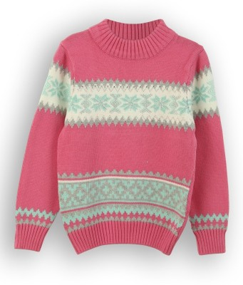 Lilliput Self Design Round Neck Casual Girl's Pink Sweater