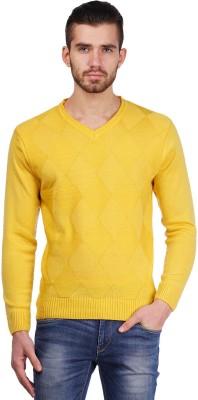 Priknit Self Design V-neck Men's Yellow Sweater