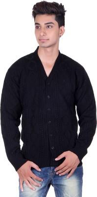 Pierre Carlo Argyle, Solid V-neck Casual Men's Black Sweater
