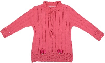 Palmer Solid Round Neck Girl,s Pink Sweater