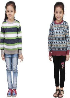 Crazeis Printed Round Neck Casual Girls Green, Red Sweater