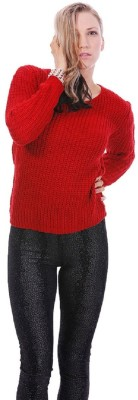 Lioness Woven Round Neck Party Women's Red Sweater