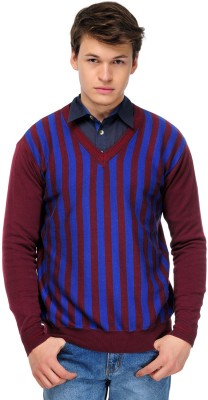 Yepme Striped V-neck Casual Men,s Dark Blue, Maroon Sweater