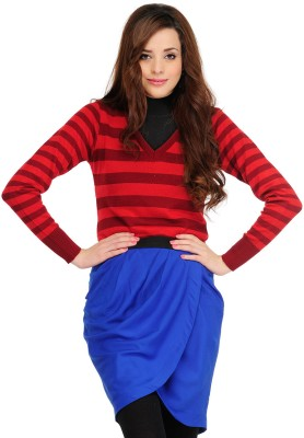 Yepme Striped V-neck Casual Women's Red Sweater