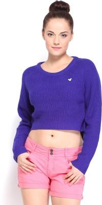 Kook N Keech Disney Solid Round Neck Casual Women's Blue Sweater