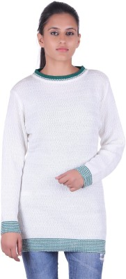 Ecools Solid Round Neck Party Women's White, Green Sweater