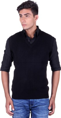 eWools Solid V-neck Party Men's Black Sweater